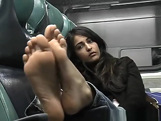 Priya's bare soled shame - Indian bare feet on train asian brunette fetish